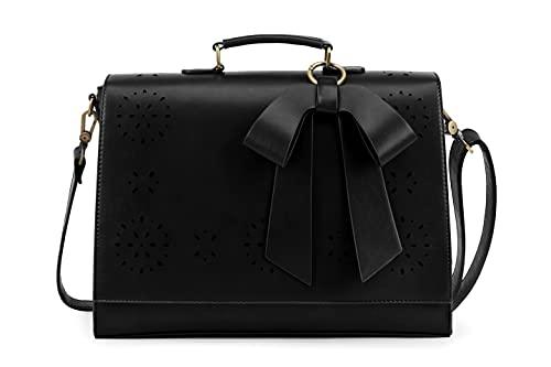 ECOSUSI Briefcase for Women Laptop Bag for School Briefcase Crossbody Messenger Bags Vegan Leather Satchel Purse Fit 14 Inches Laptop, Black