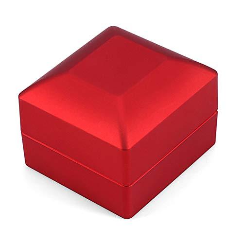 Caja de anillo, caja de almacenamiento de anillo con iluminación LED de moda de 4 colores, vitrina de joyería, regalo para celebrar anillos de compromiso/bodas(rojo)