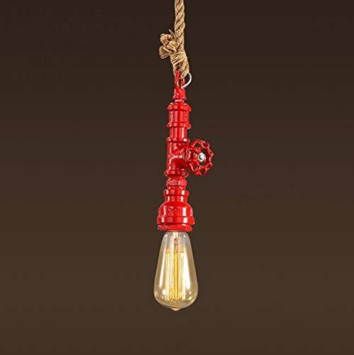 LLT Útil Colgante Ligero Tubos de Agua Araña Retro Industrial Viento Cáñamo Cuerda Araña Creativa Personalidad Techo Luz Edison Bombilla Tienda de Ropa Iluminación Única Cabeza Araña,Rojo