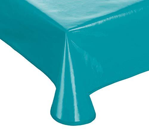 Schwar Textilien Lacktischdecke Gartentischdecke Küchentischdecke abwaschbar in vielen Fb.+ Gr. (Petrol, 160 rund)