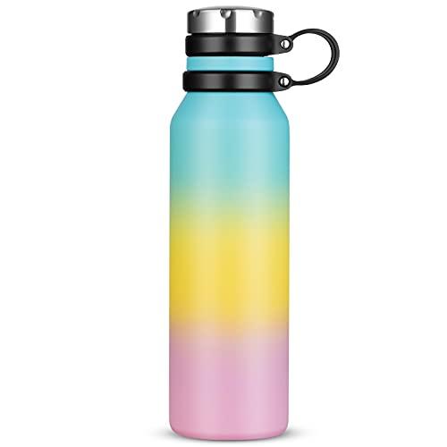 Borraccia Termica 750 ml, Senza BPA, Bottiglia Acqua in Acciaio Inox Sottovuoto a Doppia Parete, per Campeggio di Sport Esterni Escursionismo Escursioni in Bicicletta (Blu Giallo Rosa)