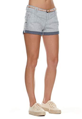 Ragwear Damen Shorts Haven A 2111-50006 White 7000 Hellblau, Hosengröße:26
