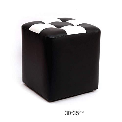 Barkruk, barkruk, barkruk, werkkruk, douchekruk, voetkruk, tafel, van leer, creatief, klein blok, kruk, bank, duurzaam, kleur: B N