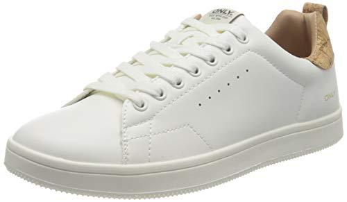ONLY ONLSHILO-23 PU Sneaker, Zapatillas Mujer, Whitedetail W Cork, 38 EU