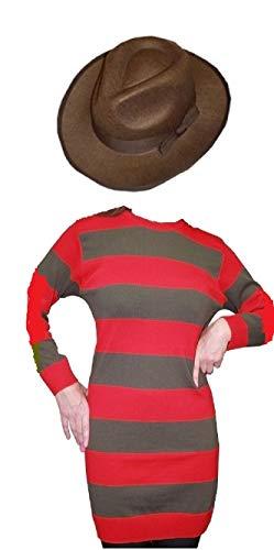 OASIS FASHION Damen-Kostüm Freddy Krueger rot-weiß-gestreifter Pullover Halloween Fancy Dress und Mütze, Größe S/M/L, Größe M, L/XL, XXL &