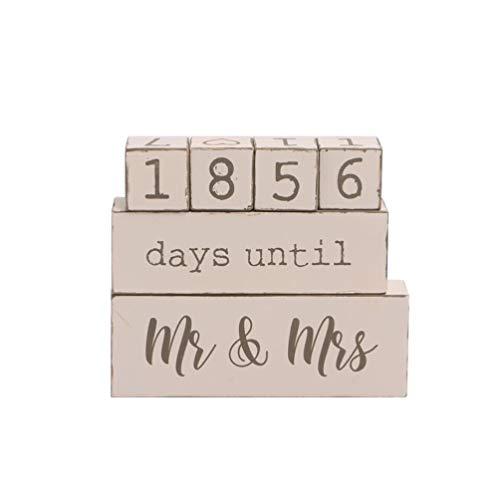 LIOOBO 1 Stück Countdown Kalender Holz Kalender Desktop Dekoration Hochzeitskalender für Wohnzimmer