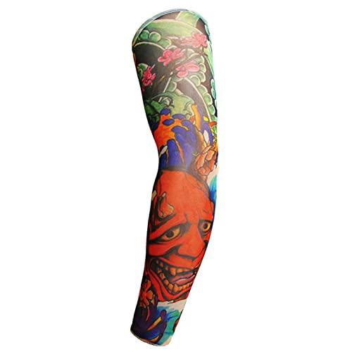 1 par de tatuaje de manga larga de los hombres de manga larga corriendo verano Ciclismo protector solar guantes sin dedos al aire libre fresco personalidad mujeres manga brazo
