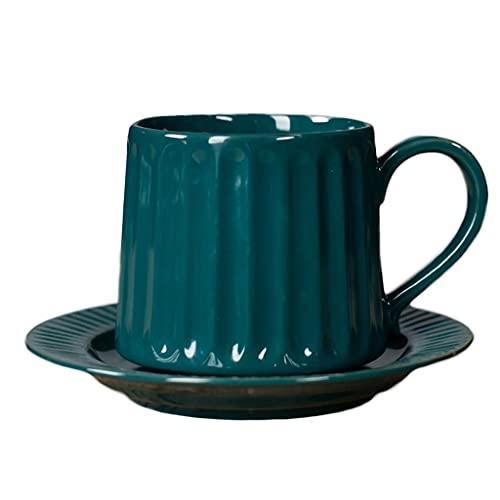 Latte Art Cup - Juego de taza de té y platillo de cerámica, 350 ml, taza europea de leche vintage para oficina y hogar, color gris cafetera (color: verde)