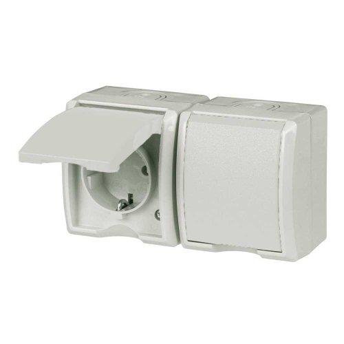 REV Ritter 0510253555 AquaForm AP-Steckdose 2-fach waagrecht, weiß