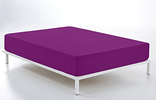 ESTELA–lenzuolo sotto con angoli Combi liscio cala, 100% Cotone–144fili–diversi Colori E dimensioni letto da 200 cm. Viola