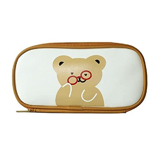 unkonw Kawaii oso PU cuero lápiz caso gran capacidad pluma bolsa papelería cosméticos maquillaje Bolsas estudiante escuela Suppliesi