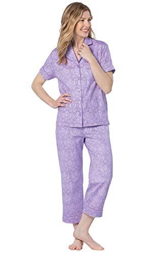PajamaGram Ladies Pajamas - Womens Capri Pajama Sets, Lavender, XS, 2-4