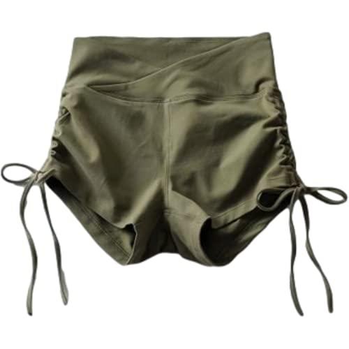 Pantalones Cortos de Yoga de Cintura Alta para Mujer Color sólido Sexy Levantamiento de glúteos Moda Cordón Deportes Ocio Pantalones Cortos de Fitness S