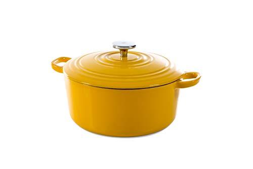 BK Cookware Cocotte en Fonte Émaillée avec Couvercle 24 cm, Dutch Oven, Casserole Induction Ronde 4.2 Litres, Tous Feux, Jaune Ensoleillé
