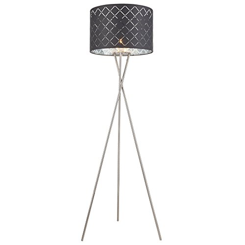 Stoff Steh Lampe Wohn Zimmer Lese Leuchte Schalter Dekor Decken Fluter grau silber Globo 15228S1