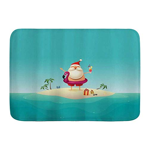 Door Mats,Santa Claus Holiday on Sandy Island at Ocean Inflatable Flamingo Float Merry Christmas,Kitchen Floor Bath Rug Mat Absorbent Indoor Bathroom Decor Doormat Non Slip