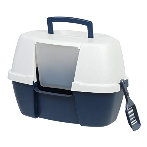 IRIS USA Large Hooded Corner Litter Box with Scoop, Navy 588426