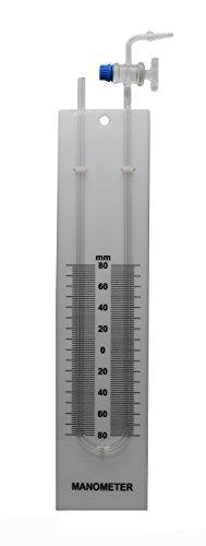 Eisco Labs Glas-Manometer, U-Rohr mit integriertem Absperrhahn, montiert auf der Rückseite mit bedruckter Skala, 80–0-80 Skala mit 2 mm Unterteilungen