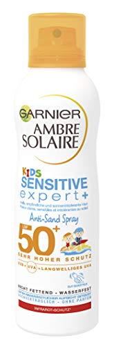 Auch gut in der Leistung Garnier Umbrella Solaire Kinderempfindlicher Experte + Anti-Sand-Spray, Lichtschutzfaktor 50+, sanddicht, schnell einziehend, sehr hoher Schutz, wasserdicht, 200 ml