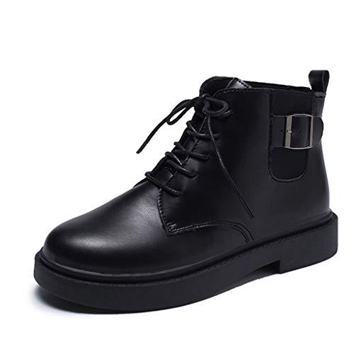 DOLDOA Stiefeletten Damen Damenstiefel Damen Flache Feste Reißverschluss Biker Kurze Knöchel Stiefel Schuhe