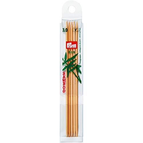 Prym 221202 Strumpfstricknadeln, 15 cm, 3,00 mm Strumpfstricknadel, Bambus, Natur, 3 mm