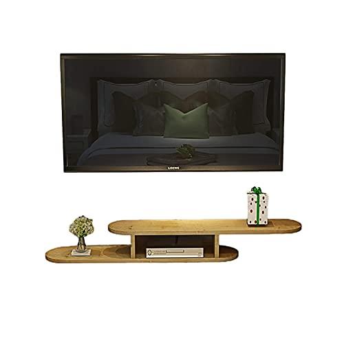 Peakfeng Gabinete de TV, TV Lowboard, estantes flotantes, TV Montado en la Pared Consola de Medios, TV Estante de Pared Walnut Wood, 100/120/140 / 160cm, Espacio de guardado y fácil de Limpiar.
