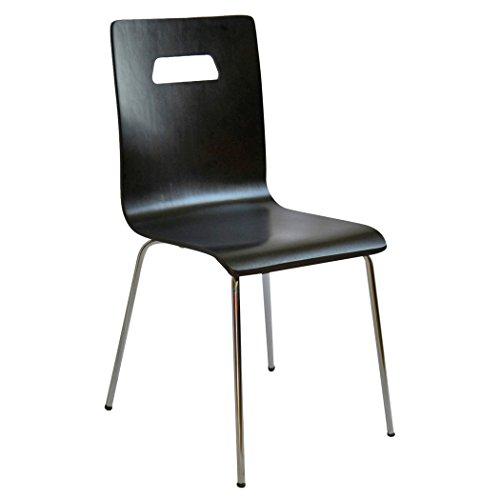 Esidra 9356 – 15 Lot de 4 Chaise, Acier chromé, abattant Bois Bouleau, Noir, 43 x 52 x 85 cm