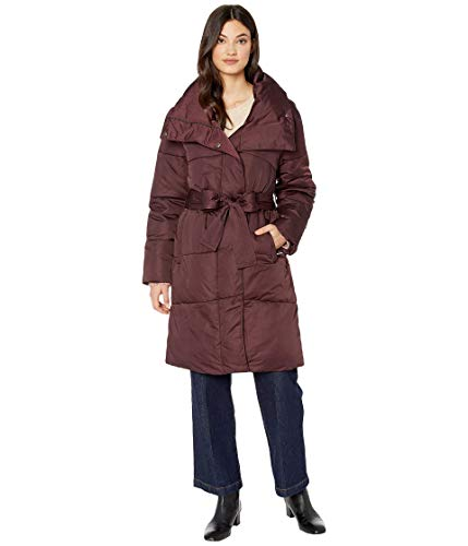 Avec Les Filles Solid Water-Resistant Puffer Burgundy SM