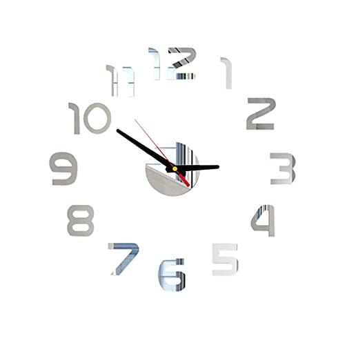 Etiqueta Engomada de la Superficie del Espejo 3D del Reloj de Pared de Bricolaje,Reloj de Decoración de la Oficina en Casa Pegatinas de Espejo de Acrílico Reloj