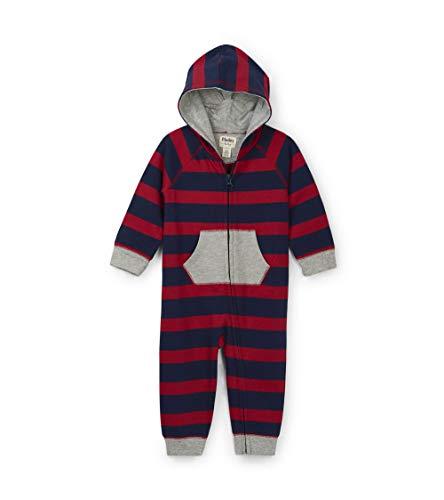 Hatley Hooded Romper Combinaison, Bleu (Crimson Stripe 400), 12-18 Mois (Taille Fabricant: 12M-18M) Bébé garçon