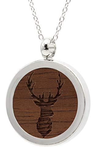 NaturSchatulle Kette mit Anhänger Holz Gravur Hirsch Halskette Holzanhänger Medaillon Silber 925 Damen Kettenanhänger Amulett Holzschmuck Charms 50cm