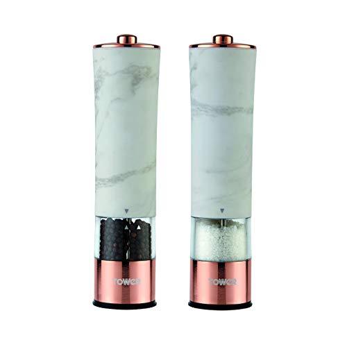 Tower T847005WR Marmor Rose Gold Elektrische Salz- und Pfeffermühle mit LED Licht, batteriebetriebenes Mahlwerk, weißer Marmor und Roségold