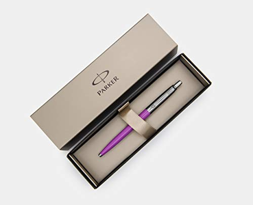 New Parker Jotter Ballpoit, Purple, Unique Edition, Medium Point, Blue Ink in Parker Gift Box