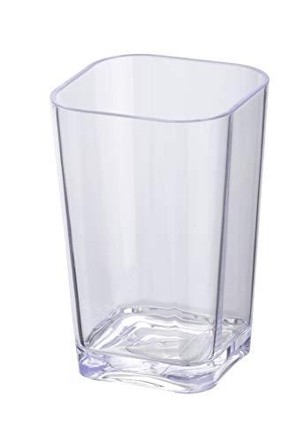 WENKO Zahnputzbecher Candy Transparent - Zahnbürstenhalter für und Zahnpasta, Polystyrol, 7 x 11 x 7 cm, Transparent