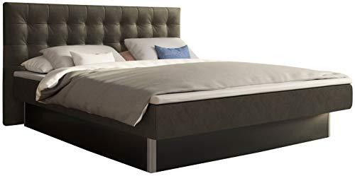 SuMa - Doppel Wasserbett 200x220 mit Topper dual freistehend m. Sockel schwarz und Kopfteil Nuevo, Farbe Carbon 200x220 cm - 11 Farben wählbar