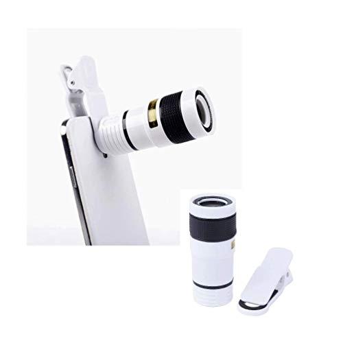 HAMISS — Clipe universal para lente para celular, lente telescópica com zoom óptico de 8 x 12 x HD, lente para smartphone e câmera para iPhone Samsung, lente para telefone, Branco