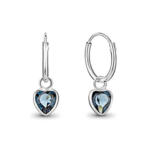 DTPsilver® Pendientes de Aro Pequeños con colgante de Corazón Cristal Swarovski® Elements - Plata de Ley 925 - Espesor 1.5 mm - Diámetro 14 mm - Color: Azul Montana