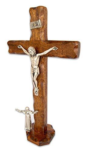 La Balestra Crucifijo de madera natural con base de apoyo – Papa Juan Pablo II – Fabricado en Umbria – Italia – (34,3 x 18 x 4 cm)