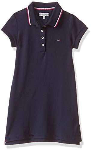 Tommy Hilfiger Essential Polo Dress S/s Vestido, Azul (Black Iris 002), 98 (Talla del Fabricante: 3) para Niñas