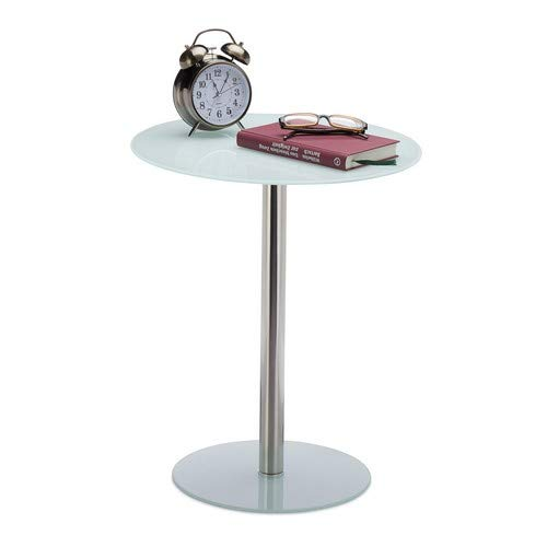Relaxdays, wit ronde bijzettafel van glas en roestvrij staal, decoratieve loungetafel, HxBxD: 53 x 43 x 43 cm, standaard