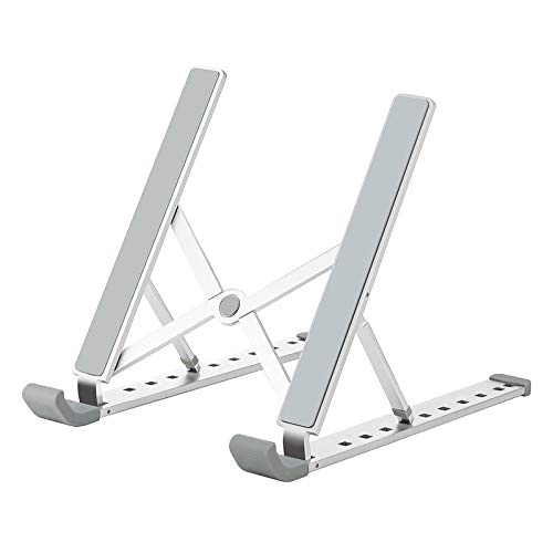 """Laptop Stand, Laptop Holder Riser Computer Stand, Aluminum 9-Angles Adjustable Ventilated Notebook Stand Mount for MacBook Air Pro, Lenovo, Dell, More 10-15.6"""" Laptops - Silver"""