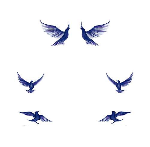 8 feuilles bleu mouette tatouages temporaires autocollants Art corporel Stickers pour Fête costumée vacances couvrant les cicatrices