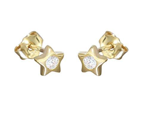 Hobra-Gold kinderster oorstekers goud 585 met zirkonia's gouden oorstekers oorbellen sterretjes