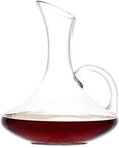 JXQ Decantador de vino clásico creativo con mango de 1,5 l, 100 % soplado a mano, jarra de vino tinto, regalo de vino, accesorios de vino, aireador de vino, botella de whisky, accesorios de cocina