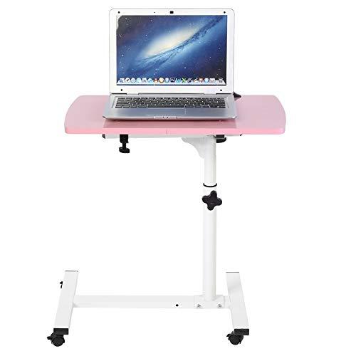 Wakects höjdjusterbart bärbart rullande datorbord, justerbart höjd bäddsoffa rullbord sidobord, 4 hjul (rosa)