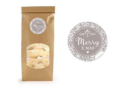 24 BIO Papiertüte Weihnachten Blockbeutel mit Fenster & Verschluss BRAUN 9 x 27 cm + 24 Aufkleber Ø 4cm MERRY XMAS SAND - Geschenktüte Geschenk Gebäck Süßigkeiten