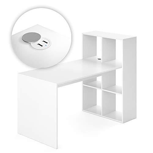 Vicco Schreibtisch Computertisch Raumteiler Emir mit USB Ladestation Tisch Hub