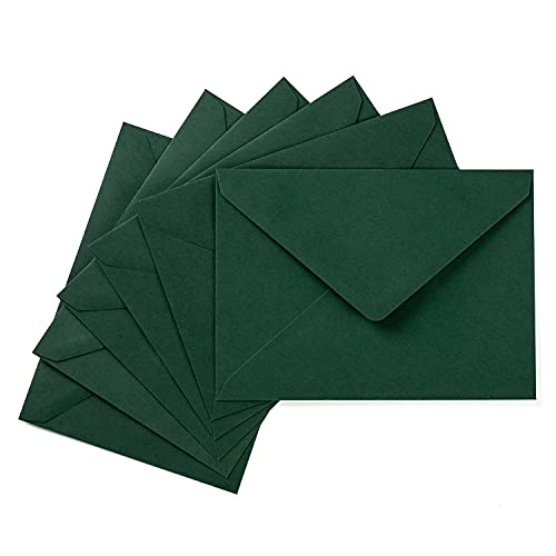 50 Pack A7 Colorful 5x7 Envelopes V Flap Invitation Envelopes for 5x7 Cards, Birthday, Weddings, Graduations, Greeting Cards, Baby Shower 5.24 x 7.24 Inches (Dark Green)