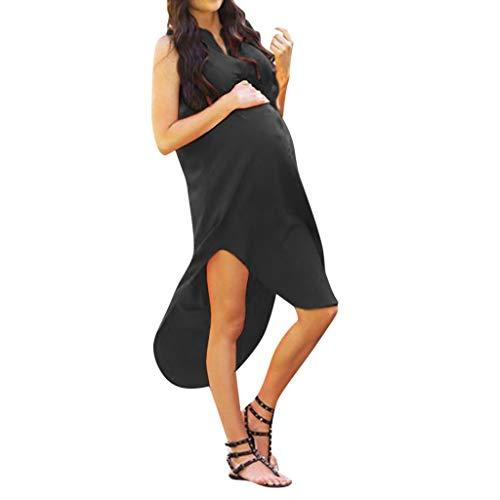 Abbigliamento Premaman Top,ZarupengLe Donne Solide Incinte Elegante Senza Maniche maternità maternità Sexy Vestito Estivo