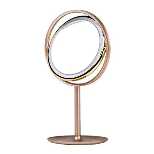 Miroir Maquillage, Miroir de maquillage créatif de bureau de lumière de miroir rond en métal (Couleur : A)